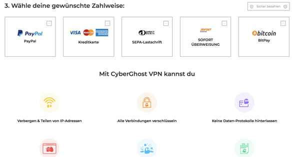CyberGhost Zahlweise