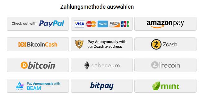 PIA Zahlungsmethode