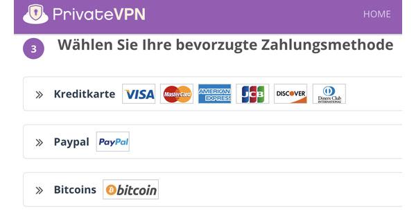 Zahlungsmethode PrivateVPN