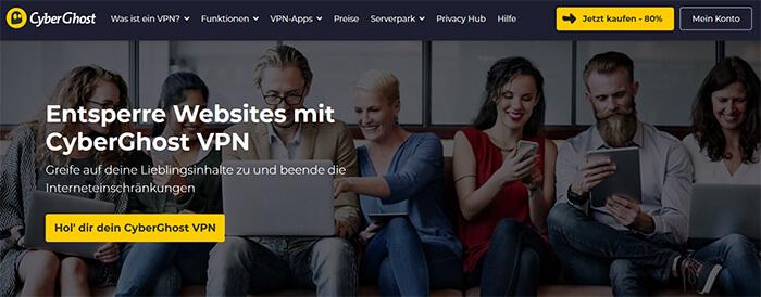 CyberGhost entsperre websites