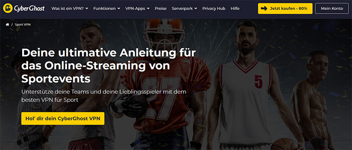 CyberGhost streaming sport