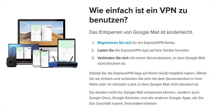 Schalte Gmail mit ExpressVPN frei