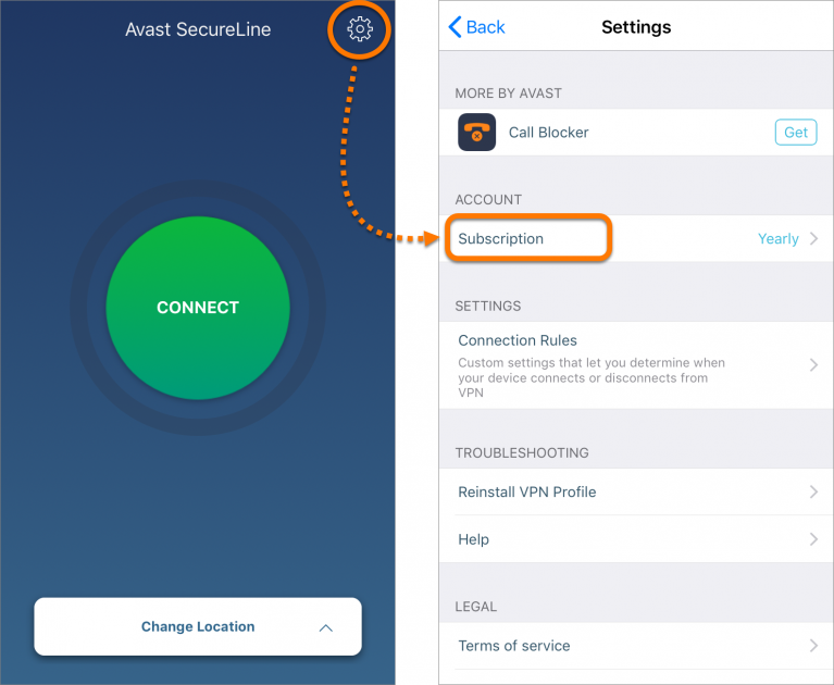 Avast SecureLine_Mobile Anwendung